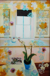 "Bestrewed With Flowers (36""x24"") Acrylic and Collage, 2012. (Sold)"